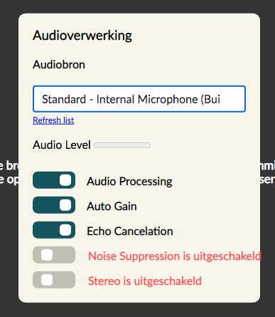 Audio Settings showing default audio settings